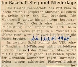 Zeitungsartikel aus dem Mai 1965